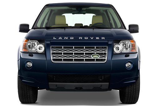 AUT 15 IZ0660 01 © Kimball Stock 2010 Land Rover LR2 HSE Blue Front View Studio