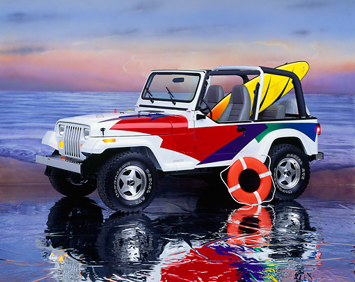 AUT 15 RK0091 05 © Kimball Stock Jeep Kenwood With Surfboard And Lifesaver 3/4 Side View On Mylar Floor Studio