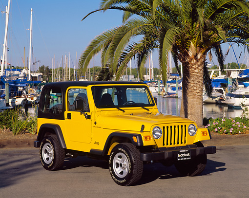 AUT 15 RK0388 05 © Kimball Stock 2000 Jeep Wrangler Sport Hardtop Yellow 3/4 Front View On Pavement By Harbor And Palm Trees