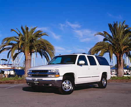 AUT 15 RK0636 05 © Kimball Stock 2003 Chevrolet Suburban White 3/4 Front View On Pavement By Palm Trees Blue Sky