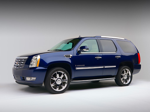 AUT 15 RK1064 01 © Kimball Stock 2007 Cadillac Escalade Blue Low 3/4 Side View Studio