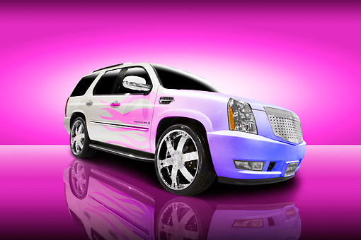 AUT 15 RK1092 01 © Kimball Stock 2007 Cadillac Escalade White With Flames Low 3/4 Front View Studio