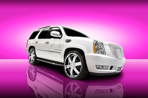 AUT 15 RK1093 01 © Kimball Stock 2007 Cadillac Escalade White Low 3/4 Front View Studio