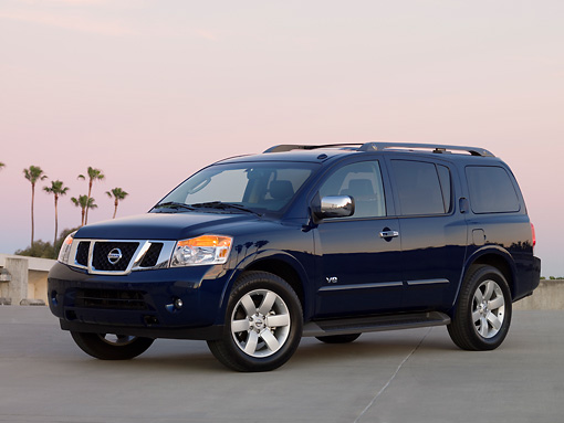 AUT 15 RK1140 01 © Kimball Stock 2008 Nissan Armada LE Blue 3/4 Side View On Pavement
