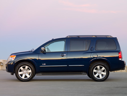AUT 15 RK1141 01 © Kimball Stock 2008 Nissan Armada LE Blue Profile View On Pavement