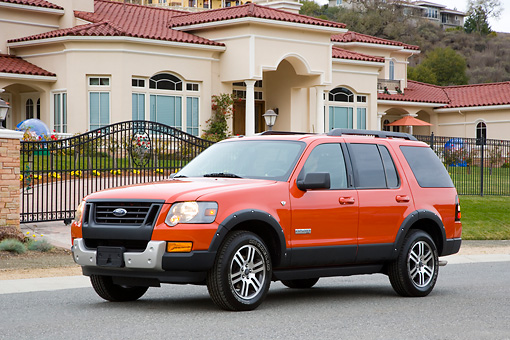 AUT 15 RK1185 01 © Kimball Stock 2008 Ford Explorer Ironman Orange 3/4 Front View By House