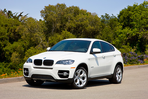 AUT 15 RK1196 01 © Kimball Stock 2008 BMW X6 xDrive35i Crossover SUV White 3/4 Front View By Trees