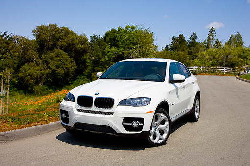 AUT 15 RK1197 01 © Kimball Stock 2008 BMW X6 xDrive35i Crossover SUV White 3/4 Front View By Trees