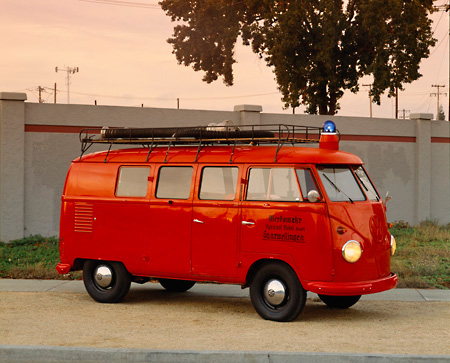 AUT 16 RK0049 01 © Kimball Stock 1958 Volkswagen Fire Truck Safety Vehicle Red 3/4 Front View By Wall