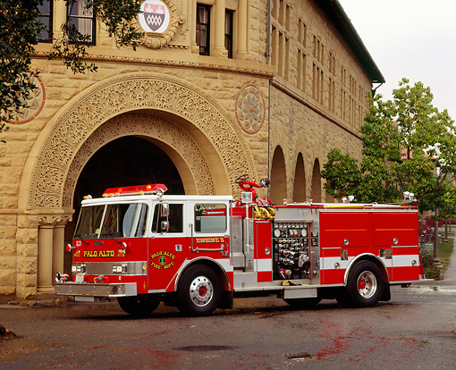 AUT 16 RK0096 04 © Kimball Stock 1988 Pierce 1500 GPM Pumper 3/4 Front View By Building