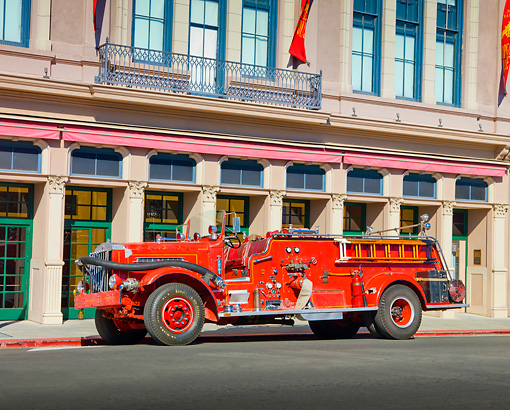 AUT 16 RK0150 01 © Kimball Stock 1948 Sterling Pumper Fire Truck Red 3/4 Front View By Building
