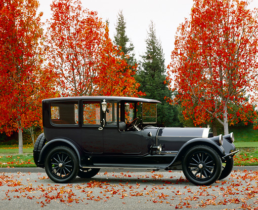 AUT 17 RK0066 01 © Kimball Stock 1917 Pierce Arrow Model 66 Town Car Side View On Pavement By Fall Colored Trees