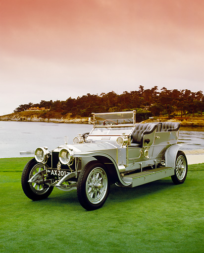 AUT 17 RK0130 07 © Kimball Stock 1907 Rolls-Royce Silver Ghost 3/4 Front View On Grass By Water