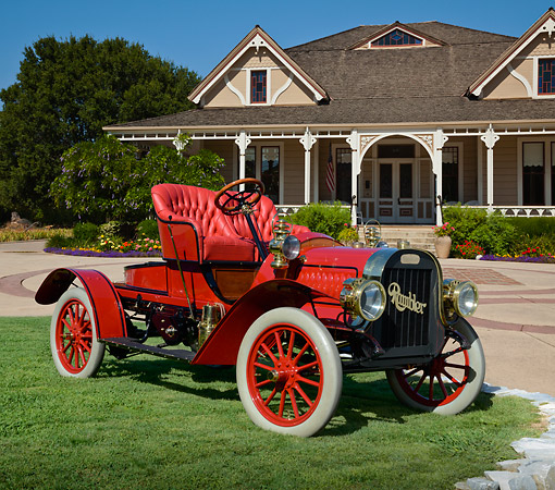 AUT 17 RK0209 01 © Kimball Stock 1907 Rambler 22 Red 3/4 Front View On Grass By House