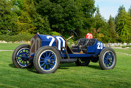 AUT 17 RK0210 01 © Kimball Stock 1911 National Factory Racer Blue 3/4 Front View On Grass By Trees