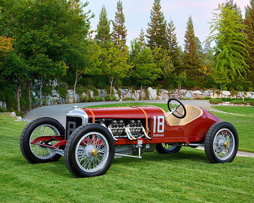 AUT 17 RK0231 01 © Kimball Stock 1916 Sturtevant-Auburn Race Car Red 3/4 Front View By Trees