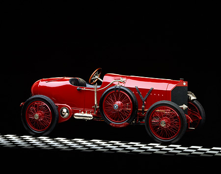 AUT 17 RK0001 02 © Kimball Stock 1913 Isotta Fraschini Milano 3/4 Side View On Checkered Floor Studio