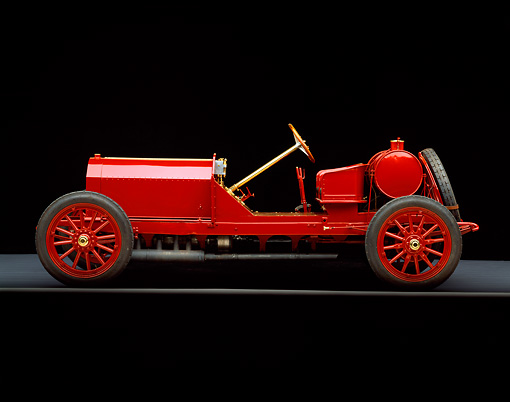 AUT 17 RK0072 04 © Kimball Stock 1907 Darracq Racer Red Profile View On Gray Floor Studio