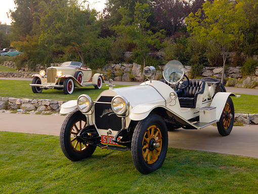 AUT 17 RK0167 01 © Kimball Stock 1914 Mitchell Big Six Speedster White Front 3/4 View On Grass By 1932 Auburn