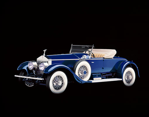 AUT 18 RK0010 05 © Kimball Stock 1925 Rolls Royce Piccadilly Roadster Blue 3/4 Side View Studio