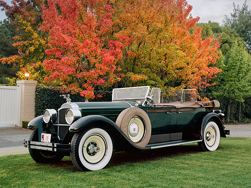 AUT 18 RK0093 02 © Kimball Stock 1928 Packard 526 Runabout Black 3/4 Front View On Grass By Autumn Trees