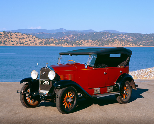 AUT 18 RK0099 02 © Kimball Stock 1929 Whippit Maroon And Black 3/4 Side View On Pavement By Lake