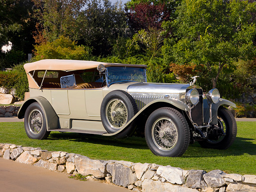 AUT 18 RK0293 01 © Kimball Stock 1923 Hispano Suiza H6B Million-Guiet Touring French Gray Front 3/4 View On Grass By Trees Stone Wall