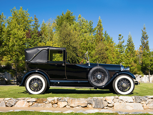 AUT 18 RK0315 01 © Kimball Stock 1928 Lincoln L-Series Collapsible Cabriolet Black Profile View On Grass By Trees