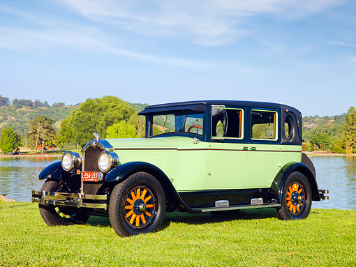 AUT 18 RK0327 01 © Kimball Stock 1927 Buick Master Six Brougham Sedan Green And Black 3/4 Front View On Grass By Lake