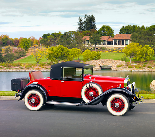 AUT 18 RK0752 01 © Kimball Stock 1929 Franklin Convertible Coupe Red 3/4 Front View On Pavement By Lake