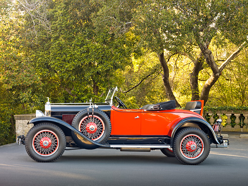 AUT 18 RK0760 01 © Kimball Stock 1928 La Salle 303 Roadster Black And Orange Profile View On Pavement By Trees