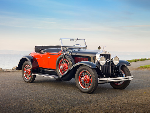 AUT 18 RK0761 01 © Kimball Stock 1928 La Salle 303 Roadster Black And Orange 3/4 Side View On Pavement By Water