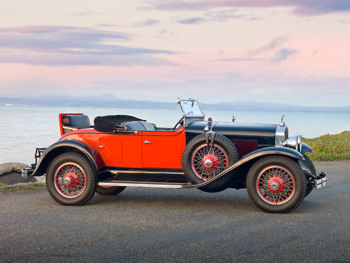 AUT 18 RK0767 01 © Kimball Stock 1928 La Salle 303 Roadster Black And Orange Profile View On Pavement By Water