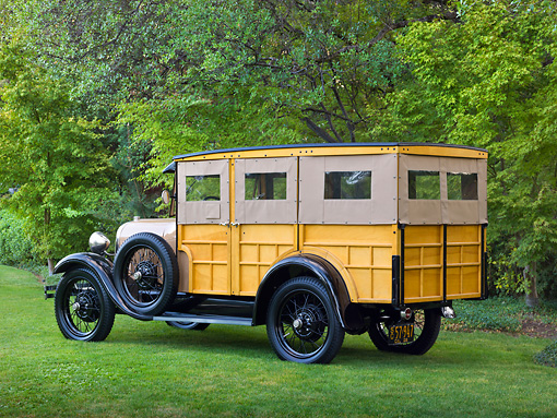 AUT 18 RK0796 01 © Kimball Stock 1929 Ford Station Wagon Manilla Brown 3/4 Rear View On Grass By Trees
