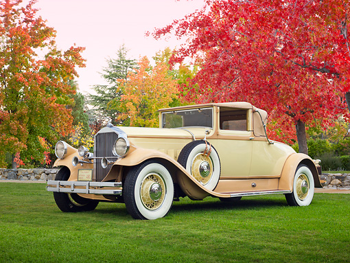 AUT 18 RK0803 01 © Kimball Stock 1929 Pierce-Arrow Convertible Coupe Yellow 3/4 Front View On Grass By Autumn Trees
