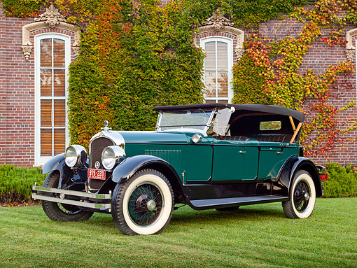 AUT 18 RK0807 01 © Kimball Stock 1927 Marmon E75 Locke Speedster 3/4 Front View On Grass By Brick Building