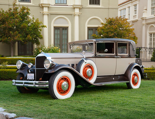 AUT 18 RK0822 01 © Kimball Stock 1929 Franklin Roadster Brown And Beige 3/4 Side View On Grass By Mansion