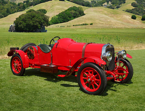 AUT 18 RK0824 01 © Kimball Stock 1921 Alfa Romeo 6330 Red 3/4 Front View On Grass By Hills