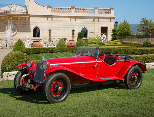 AUT 18 RK0825 01 © Kimball Stock 1929 Alfa Romeo 1750 SS Zagato Red 3/4 Side View On Grass By Building