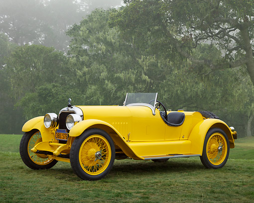AUT 18 RK0826 01 © Kimball Stock 1925 Mercer Series 6 Raceabout Yellow 3/4 Front View On Grass By Trees