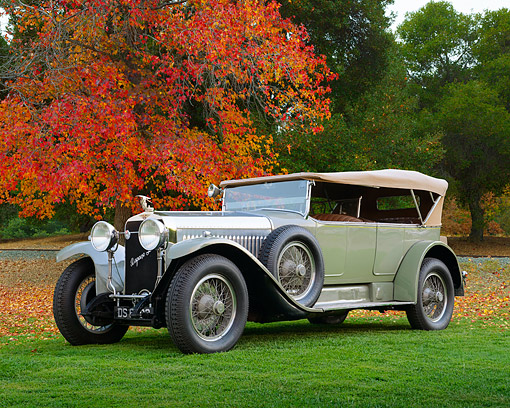 AUT 18 RK0828 01 © Kimball Stock 1923 Hispano Suiza H6-B Million-Guet Touring French Gray 3/4 Side View On Grass By Autumn Trees