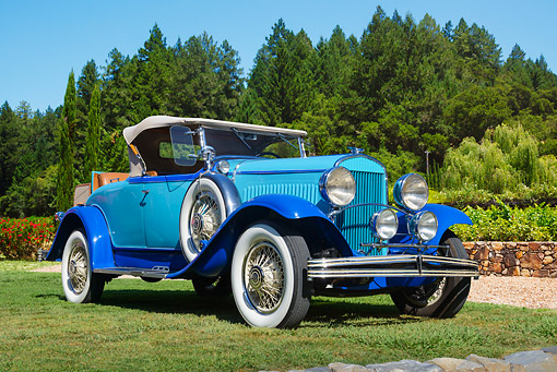 AUT 18 RK0830 01 © Kimball Stock 1929 Chrysler 75 Roadster Blue 3/4 Front View On Grass By Trees
