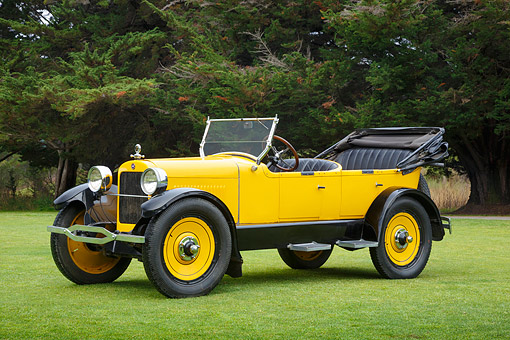 AUT 18 RK0832 01 © Kimball Stock 1920 Elcar H6 Sportster Yellow 3/4 Front View On Grass By Trees