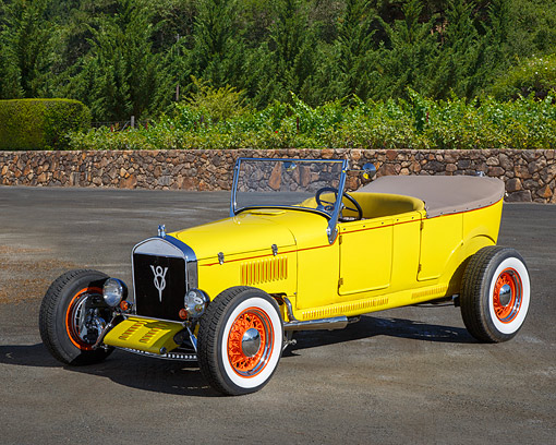 AUT 18 RK0833 01 © Kimball Stock 1926 Ford Model T Yellow 3/4 Front View On Pavement By Trees