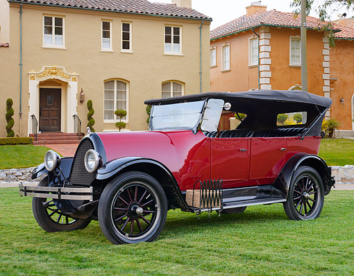 AUT 18 RK0843 01 © Kimball Stock 1924 Franklin 10C Touring Red And Black 3/4 Side View On Grass By House