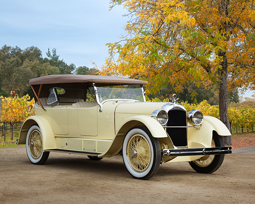 AUT 18 RK0845 01 © Kimball Stock 1920s Duesenberg Model A Cream 3/4 Front View On Dirt By Autumn Vineyard