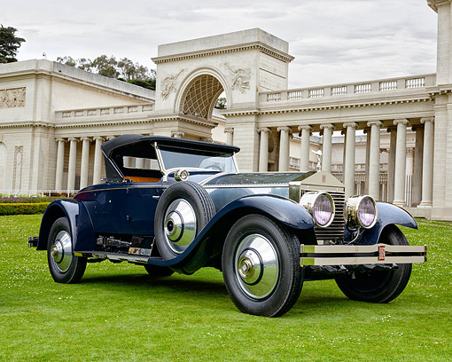 AUT 18 RK0857 01 © Kimball Stock 1925 Rolls Royce Silver Ghost Blue 3/4 Front View By Ancient Coliseum