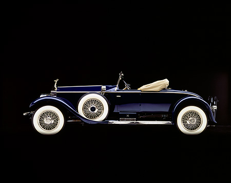 AUT 18 RK0012 01 © Kimball Stock 1925 Rolls Royce Piccadilly Roadster Blue Profile Studio