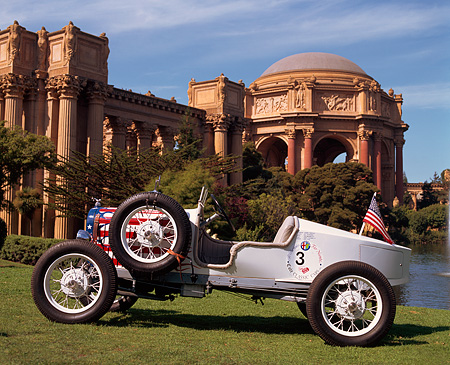 AUT 18 RK0022 09 © Kimball Stock 1929 Ford Model A County Fair Dirt Track White Profile On Grass Palace Of Fine Arts San Francisco