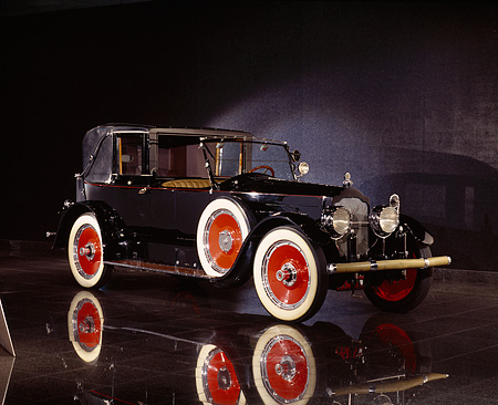 AUT 18 RK0028 09 © Kimball Stock 1920 Packard Transformable Town Car Black 3/4 Front View On Mylar Floor Studio